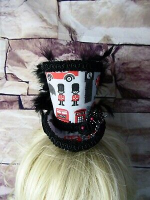 Stunning Steampunk Mini Top Hat Fascinator London Black Grey Red  (HT3)