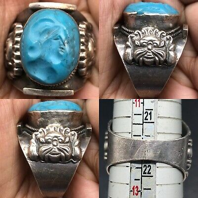 Antique turquoise stone Emperor intaglio King face solid Silver Lovely Ring