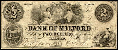 1854 Bank of Milford, Delaware $2.00 Note