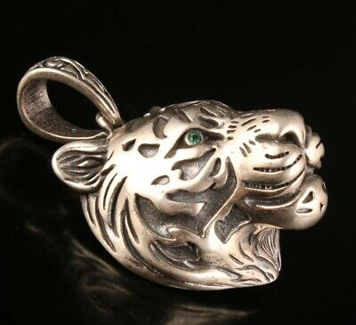 Chinese Solid Silver Hand Cast Tiger Head Statue Pendant Collection