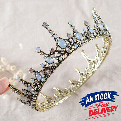 Queen Tiara Retro Crystal Headband Crown Princes Bridal Wedding Hair Accessories