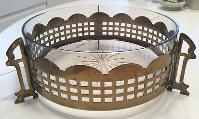 Arts & crafts Mackintosh style glass fruit bowl - brass surround on brass legs