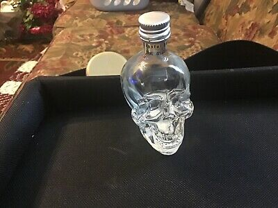 "Crystal Head Skull Empty Vodka Bottle Clear Glass Skull Mini 50mL 3 1/2"" H"