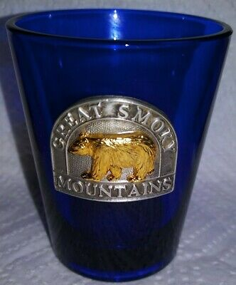 Great Smoky Mountains Tennessee Bear Souvenir Shot Glass Cobalt Blue