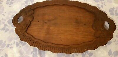 Arts and crafts tray Oak Art Noveau carved.(20 by 12 inches)