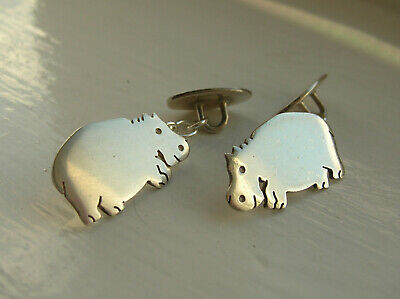 Gorgeous Unusual Smiling Hippos Vintage Solid Silver Chain Cufflinks - Vgc