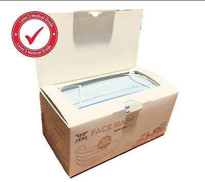 Disposable Medical Face Mask ASTM Level 3, 50/box, Blue, Protect Yourself!