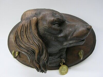 19th Century large carved Black Forest wood figural Dog head leash holder