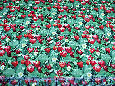 3 Yards Cotton Fabric- Elizabeth's Studio Berry Good Strawberries Flowers Leaves