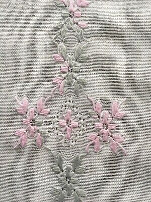 Vintage Hand Embroidered Pulled Thread Linen Tablecloth Crocheted Edge 64x72""