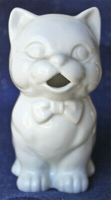 Vintage  White Ceramic  Kitty Cat   CREAMER   wearing bow tie, waiting to pour