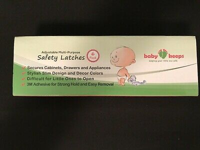 BABY KEEPS Safety Latches 6 Pk Secures Cabinets Drawers Appliances NEW