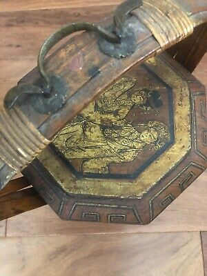 Vintage Antique Chinese Wedding Rice Wood Basket Hand Painted Bird Bucket 11x14