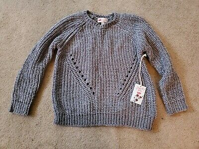 Beautiful Poof Girl Size Large Gray Knitted Sweater Cashmere feel