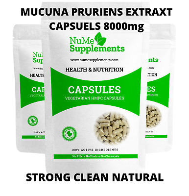 Mucuna Pruriens Extract Pure Capsules L-Dopa 8000mg Strong  Velvet Bean Cowhage
