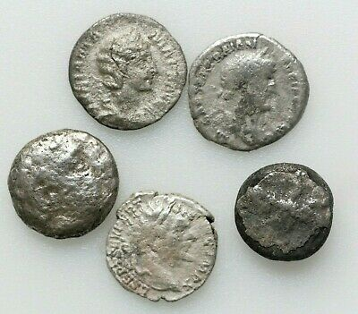 Roman Imperial Coins ,LOT OF FIVE ROMAN AND GREEK SILVER COINS.