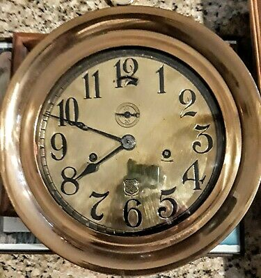 Vintage Ashcroft Brass And Bronze Ships Clock Working Condition