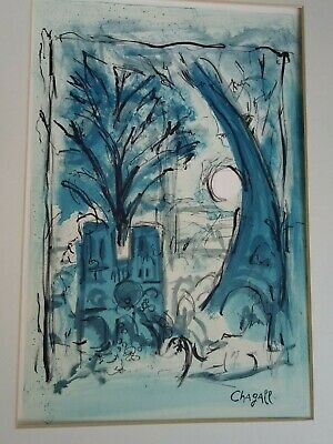 Marc Chagall  Hand Signed Original Watercolor and Charcoal Painting