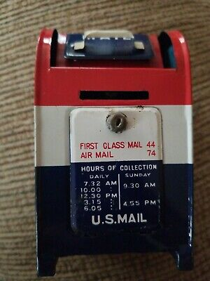 US Mail Post Office Mailbox Coin Bank Tin Litho Japan Made Vintage Advertising