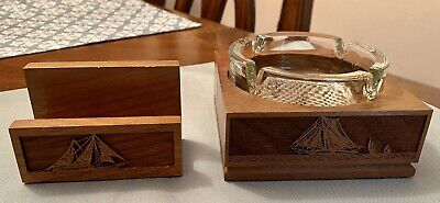 *Vintage Ashtray Lasercraft Solid American Walnut And Card Holder*