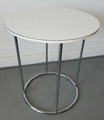 Mid Century Milo Baughman Style Chrome Tubular Faux Slate Pedestal Drum Table***
