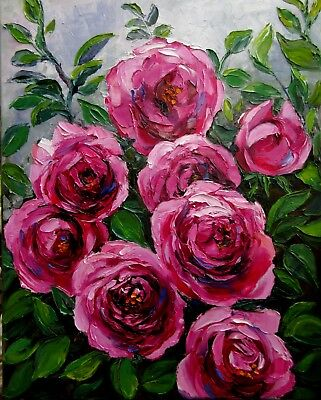 """Climbing Roses 20X16"""" Hand Painted Original Oil Painting Floral Realism N Bykova"""
