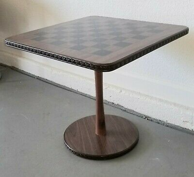 Mid Century Retro 60's Wood Grain Formica Chess Board Pedestal Accent Side Table