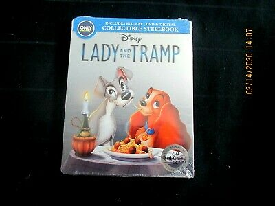 Disney  LADY AND THE TRAMP  Blu-ray + DVD + Digital  Steelbook NEW