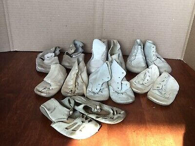 7 Pairs Antique Primitive Baby Toddler Doll Shoes