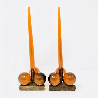 Vintage 1960s Amber Lucite Grapes & Wood Candle Holders With Candles Triangle