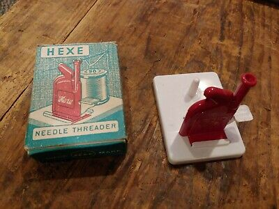 Vintage Einfadel HEXE Red Plastic Automatic Needle Threader Western Germany