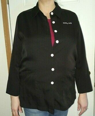 Mary Kay XL Smock Lab Coat Jacket Black Pink Trim Makeup Representative Size XL