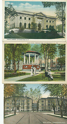 3 postcards: NY, SCHENECTADY  views : HIGH SCHOOL-LIBRARY-PARK