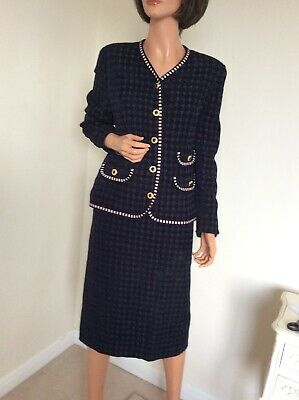 "Frankenwald vintage Chanel style skirt suit gold button Ribbon Trim  38"" UK12/14"