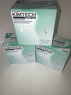 Kimtech Science KimWipes Delicate Task Wipers - 3 Boxes Of 280 Wipes/Box Ea. NEW