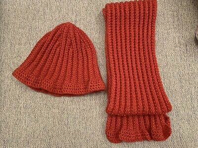 Hand-Knit girl's Wool Hat & Matching Scarf