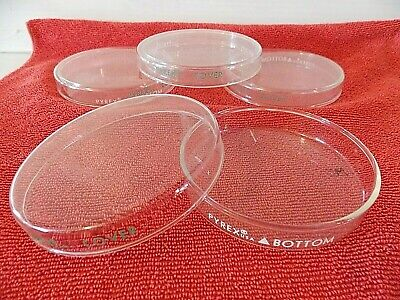 Lot 4 PYREX Glass Vented Petri Dishes plates Tops & Bottoms (sets) 90 mm x 15 mm