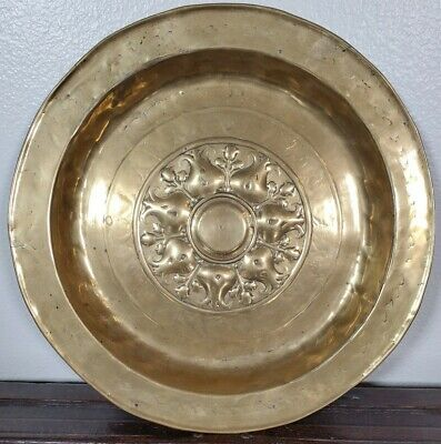 ANTIQUE GERMAN BRASS ALMS DISH NUREMBERG GOTHIC CHARGER 16th 17th c 1600s 1500s
