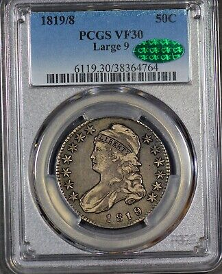Tough PQ 1819/8 Capped Bust Half 50c Large 9 PCGS VF-30 CAC