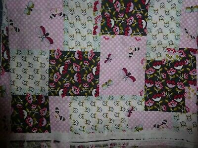 """Vtg Multi-color Cheater Quilt Fabric pink flowers& butterflys 44""""W x 2 1/2 Yds L"""