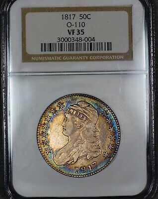 Rainbow Color 1817 50c Capped Bust Half Dollar NGC VF-35 O-110