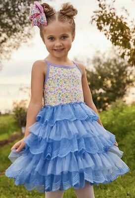 Matilda Jane Make A Wish Dress Blue Tutu Tiered Tulle Floral Girls Size 8 NWT