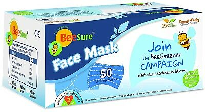 BeeSure Earloop Face Mask ASTM Level-2, 3-Ply 4-Fold Blue color, 50/box #BE2100B