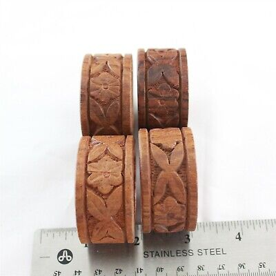 Hand Carved Wood Napkin Rings Floral Tiki Decor Round Flowers Set of 4 Wooden