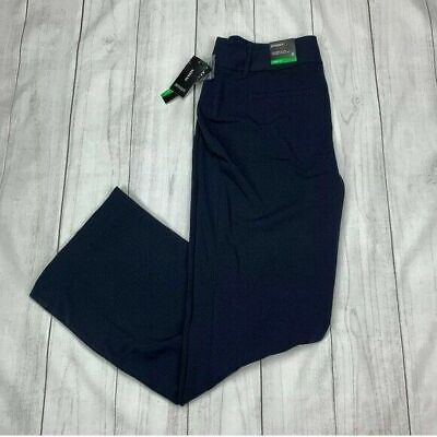 Alfani Curvy Fit Trouser Pants Size 6 Navy Blue Stretch Bootcut Career NEW