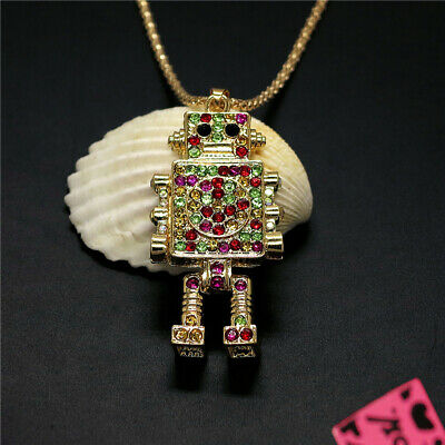 New Lovely Colour Crystal Gold Plated Robot Betsey Johnson Pendant Girl Necklace