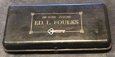 Vintage Ed. L. Foulks Insurance Company Advertising Metal Cash Box Lock Box