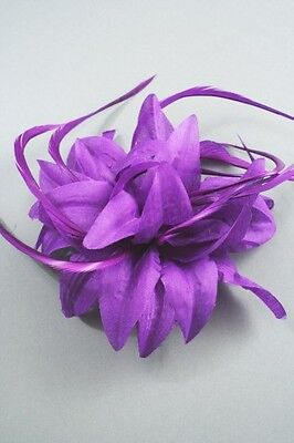 Purple Fabric Flower Fascinator with Feathers - Wedding Hair Clip Corsage