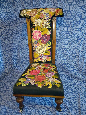 Victorian Carved Oak Prie Dieu Chair with Beaded Needlpoint Upholstery