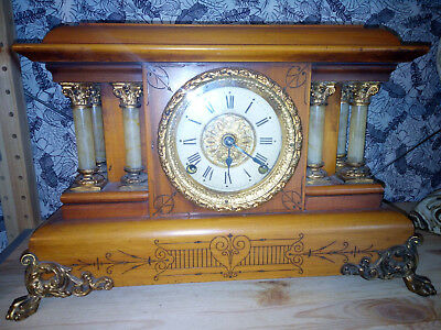 Antique American Made Seth Thomas Admantine Fruitwood Mantle Clock